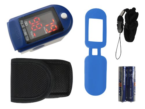 Finger Pulse Oximeter TIGA-50DL CMS-50 DL Blue Heart Rate Monitor SPO2 Oxygen Saturation Measurement with LED Display Including Batteries/Pouch/Silicone Protective Case/Carry Strap and German Plug x 1