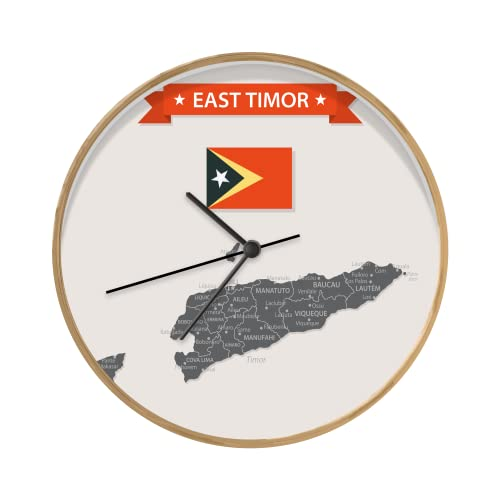 Uhr - Ø 30 cm - Holzfarbene - Eine Illustration der Karte von Osttimor mit Einer Flagge & einem Band - Wand