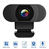 Kaulery Webcam con Microfono a cancellazione di Rumore, Webcam per PC HD 1080P, videocamer...