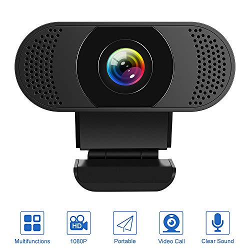 Kaulery Webcam con Microfono a cancellazione di Rumore, Webcam per PC HD 1080P, videocamera Web USB Plug And Play per Streaming, videochiamata, Studio
