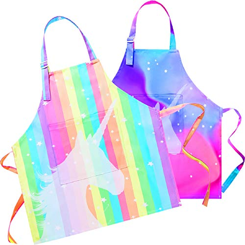 Sylfairy Aprons for Kids Girls Rainbow Galaxy Unicorn Apron with Pockets for Children Kitchen Chef Aprons for Cooking Baking Painting and Party(Medium,6-12Years)