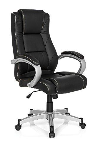 MyBuero 725012 - Sedia direzionale da ufficio RELAX CL180, in similpelle, colore: nero e bianco, sedia ergonomica da scrivania, con braccioli, schienale alto, meccanismo a bilanciere, 120 kg