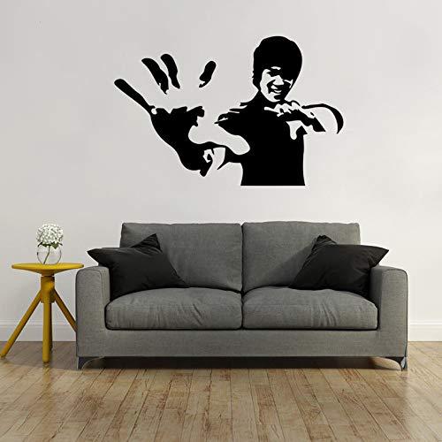 XCSJX Chinesische Kampfkunst Bruce Lee Geschnitzte Wandaufkleber Schlafzimmer Wohnzimmer Hintergrund wasserdicht abnehmbare 85 * 57CM