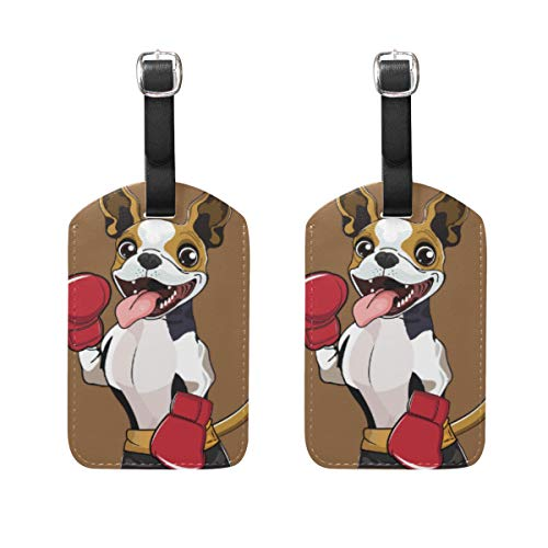 2 Pack Luggage Tags Cartoon Dog Boxer PU Leather ID Labels with Back Privacy Cover for Travel Bag Suitcase