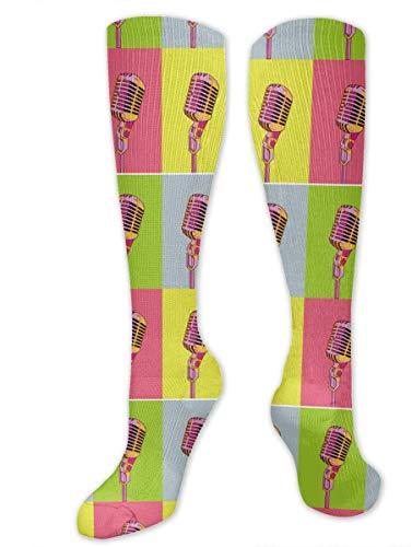 zhouyongz Calcetines de compresión para mujeres y hombres, enfermeras, corredores, mejor calcetín médico para viajes, maternidad, correr, atletismo, venas varicosas, micrófono colorido fresco