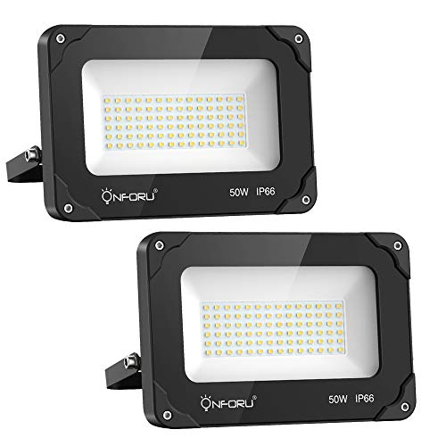 Onforu 50W LED Flood Light, 5500lm Super Bright Security Light, IP66 Waterproof Outdoor Floodlight, 5000K Daylight White 2 Pack LED Exterior Light Fixture for Basketball Court, Yard, Patio, Garden