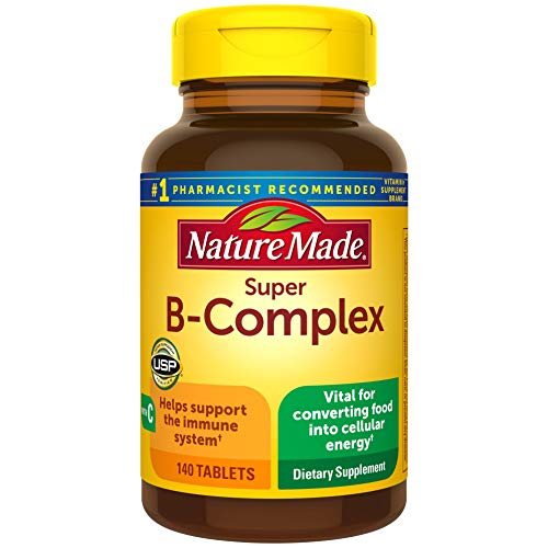 Nature Made Super B Complex with Vitamin C and Folic Acid, Dietary Supplement for Cellular Energy Support, 140 Tablets, 140 Day Supply