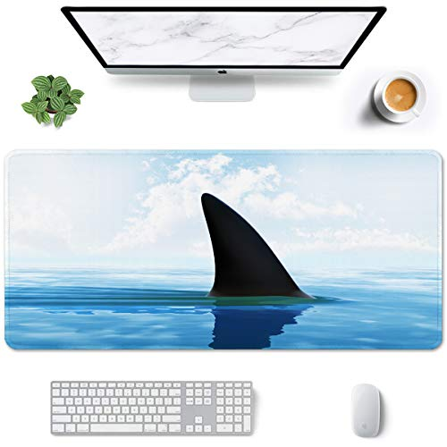 Auhoahsil Large Mouse Pad, Full Desk XXL Extended Gaming Mouse Pad 35' X 15', Waterproof Desk Mat w/Stitched Edge, Non-Slip Laptop Computer Keyboard Mousepad for Office & Home, Sneaking Shark Design
