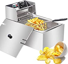 DeepFryerwithBasket 2500W Electric Deep Fryer Stainless Steel Countertop Oil Fryer 6.3QT/6L Large Capacity for Commercial Home Use with Temperature Limiter (Single(6.3QT/6L))
