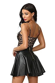 Women s J2 Love Faux Leather Back Gold Zip Mini Skater Skirt Medium Black