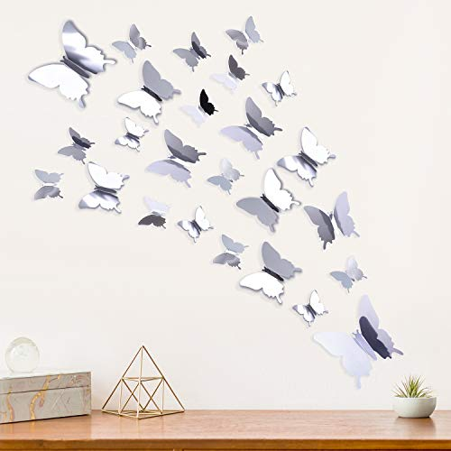 Elcoho 96 Pieces 3D Mirror Butterfly Wall Decal Removable Butterfly Wall Stickers Combination for DIY Home Decoration