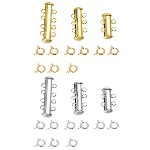 Healifty cierre de cierre deslizante conector de collar de múltiples hilos cierres de tubo deslizante para pulsera en capas collar joyería conector artesanías 6 piezas (plata dorada)