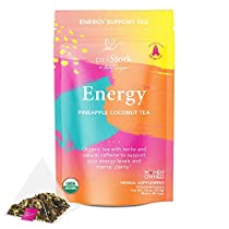 Pink Stork Energy Tea: Pineapple Coconut Caffeine Tea, 100% Organic, All Natural Energy Drink with Green Tea, Organic Energy Tea, Women-Owned, 30 Cups