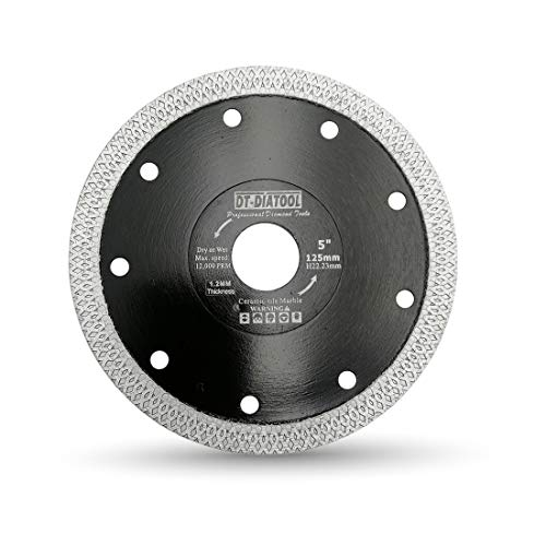 DT-DIATOOL Disco Tronzador Diamante 125 mm Hoja de Sierra con X Malla Turbo para Corte de Porcelanico Azulejos Mármol Granito Cerámica