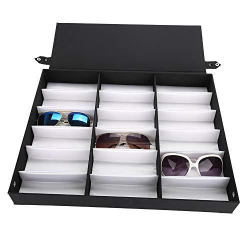 Vitrina de Gafas de Sol de 18 Rejillas, Organizador de la Caja de Almacenamiento de Gafas con Tapa Plegable para Joyas de Relojes de Gafas, Negro/Blanco