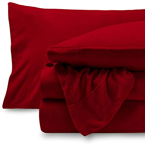 Bare Home Super Soft Fleece Sheet Set - Twin Extra Long Size - Extra Plush Polar Fleece, Pill-Resistant Bed Sheets - All Season Cozy Warmth, Breathable & Hypoallergenic (Twin XL, Red)