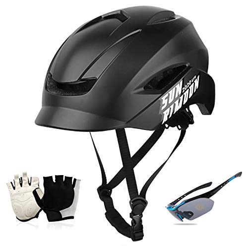 Bike Helmet for Men Women, Bicycle Helmet with Gloves And Goggles Cycle Helmet Integrated Sun Visor for Urban Commuter Mountain & Road Cycling Helmets 57-62Cm,Black