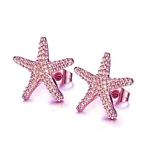 Bohemian Gold-color Starfish Stud Earrings Lovely Ocean Star Post Earring for Women Girls Boho Jewelry (Rose gold)