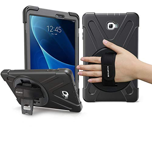 Samsung Galaxy Tab A 10.1 Case, BRAECN Shockproof Dropproof Rugged Case Cover with 360 Degree Rotating Kickstand/Hand Strap+Shoulder Strap for Galaxy Tab A6 10.1 2016 T580/T585[No S Pen] Tablet(BLACK)