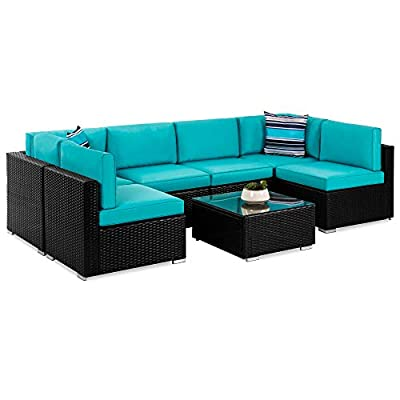Best Choice Products 7-Piece Modular Outdoor Sectional Wicker Patio Furniture Conversation Set w/ 6 Chairs, 2 Pillows, Seat Clips, Coffee Table, Cover Included - Black/Teal