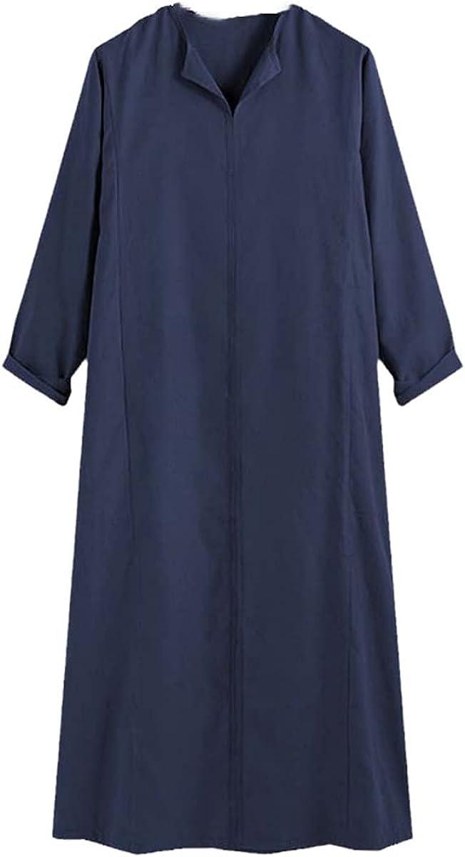 Jubba Thobe Men's Solid Color Muslim Arab Islamic Kaftan Long Sleeve V-neck Robe Dubai Middle East