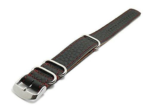 Meyhofer Uhrenarmband Piacenza NATO Special 22mm schwarz Leder genarbt rote Naht MyFcslb300/22mm/schwarz/roN