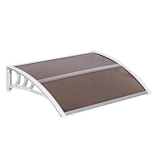 "Goujxcy Window Door Awning,30""x 40"" Window Awning Overhead Door Polycarbonate Cover Front Door Outdoor Patio Canopy Sun Shetter,UV,Rain Snow Protection Hollow Sheet"