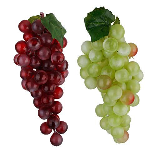 2er-Set Grün Lila Künstliche Weintrauben Dekoobst Kunstobst Obst Früchte