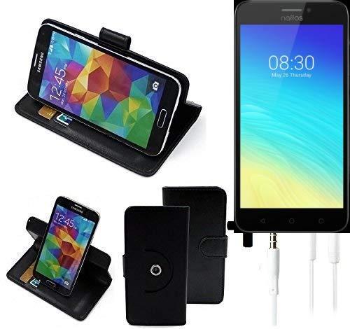 K-S-Trade® Case Schutz Hülle Für TP-LINK Neffos Y5S + Earphones Handyhülle Flipcase Smartphone Cover Handy Schutz Tasche Walletcase Schwarz (1x)