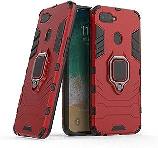 جراب بغطاء ايرون مان مزود بحلقة معدنية للاستناد من كومبيومصر لموبايلات ريلمي 2 برو/ اوبو F9 - احمر