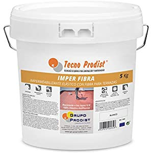 IMPER FIBRA de Tecno Prodist - 5 Kg (BLANCO) Pintura Impermeabilizante elástica para Terrazas con Fibras Incorporadas - (A Rodillo o brocha, disponible en color rojo o blanco)