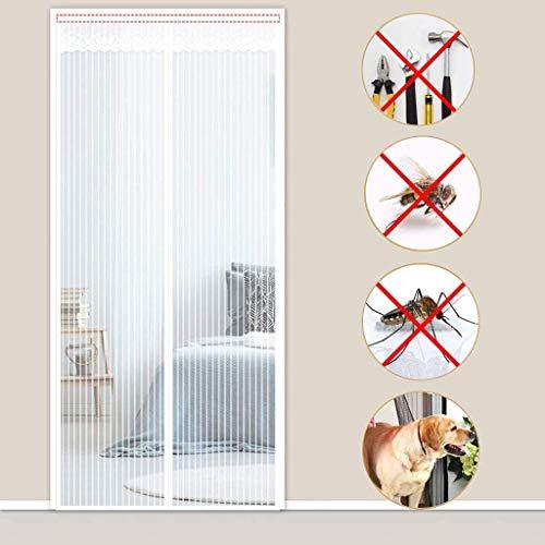 Magnetic Fly Screen Door, Mosquito Screen Heavy Duty Dustproof Net Automatic Close, for Back Doors, Front Doors, Patio Doors -White-90x250cm(35x98inch)