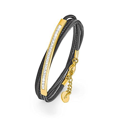 S.Oliver Damen Wickel Armband aus schwarzem Leder und Edelstahl IP Gold mit Kristallen von Swarovski in weiß