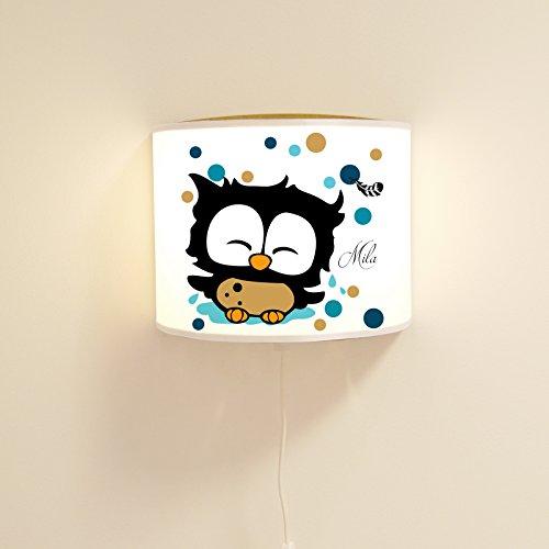 ilka parey wandtattoo-welt Leseschlummerlampe Leselampe Schlummerlampe Wandlampe Kinderlampe Lampe Eule mit Feder und Punkten Ls09