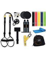 Profit Fitness-oefenset - Sport en lichaamsbeweging thuis - Suspension Trainer - 5 Fitness Pilates-elastieken -Microfiber Handdoek - Crossfit-polsbandjes - Core Sliders - 15 stuks