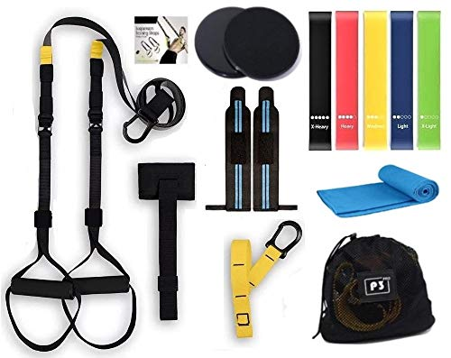 Profit Fitness - Entrenamiento en Suspensión - Set/Kit de Ejercicio, Deporte, Gimnasio en Casa -Bandas/Gomas/Cintas Elásticas Fitness Musculación Resistencia – Gym en casa.