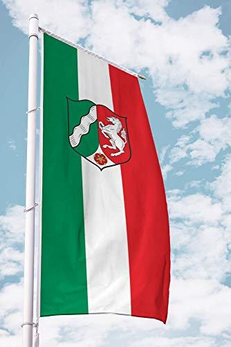 Deitert Bundesland-Flagge NRW – 120x300 cm NRW-Flagge mit Wappen (Dienstflagge), Fahne für Ausleger aus reißfestem Polyester, NRW-Fahne mit Doppelsicherheitsnaht gesäumt