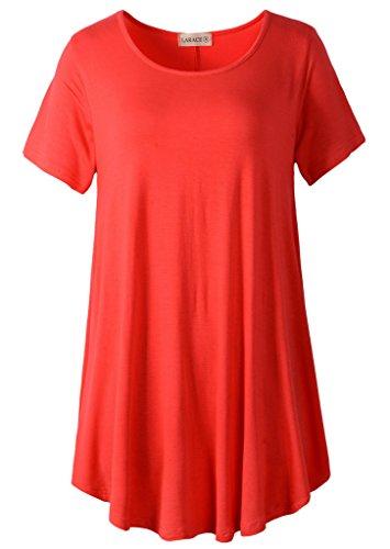 LARACE Women Short Sleeves Flare Tunic Tops for Leggings Flowy Shirt (S, Red)