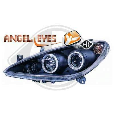 4234780 Angel Eyes koplamp, zwart voor 307 limousine, combi 2001 tot 2005