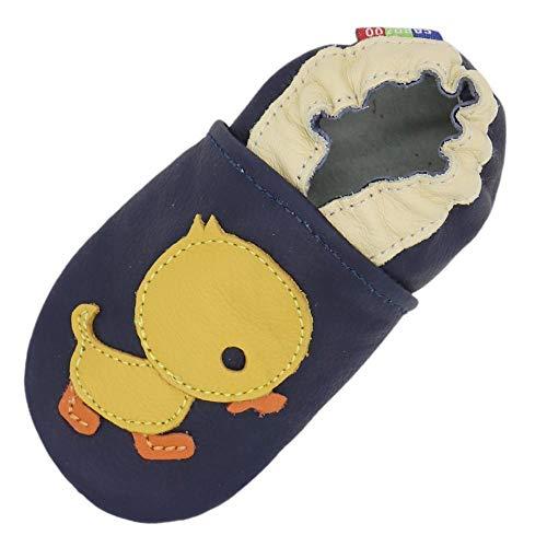 XINTIAN Chaussons en cuir souple pour bébé garçon et fille de 0 à 6 mois à 7 à 8 ans - Chaussures antidérapantes pour enfants (couleur : bleu canard foncé, taille de la chaussure : 5)