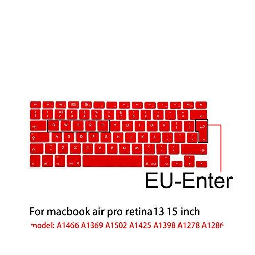 Para Apple stickers portátil Teclado Cubierta Carcasa de Silicona Color Película de Silicona de Color EU/US para MacBook Pro13/15 air13 A1278A1398A1466/1502-EU-enter Rojo