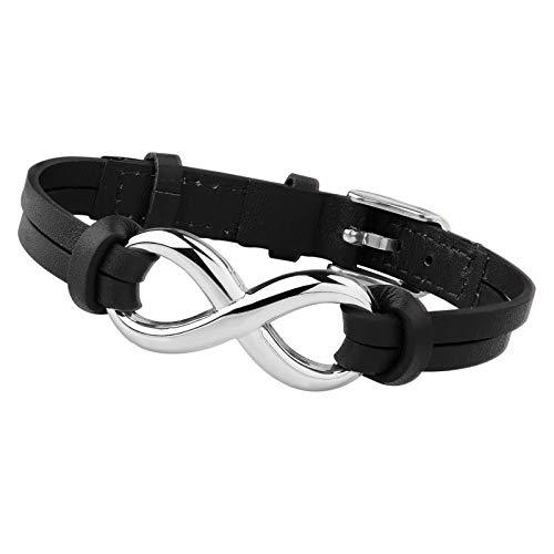 sailimue Leder Infinity Armband für Herren Damen Unendlichkeitszeichen Armband Edelstahl Paar Armband Einstellbar