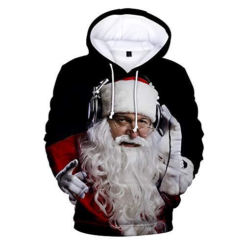 x8jdieu3 Bonhomme de Neige de Noël 3D Couple d'impression numérique Sweat à Capuche Warm Top Sweat Bonhomme de Neige de Noël