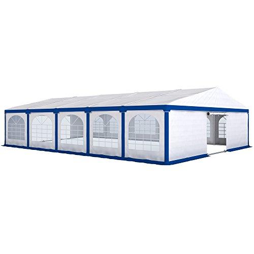 paramondo Partyzelt Flex 8 x 10 m weiß-blau aufbaubar in den Größen 8 x 4 m, 8 x 6 m, 8 x 8 m, 8 x 10 m
