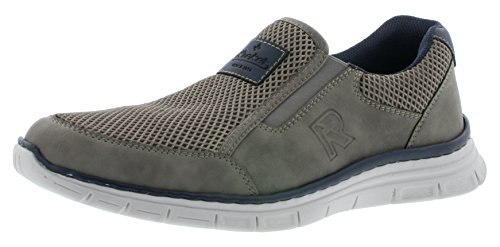 Rieker B4873 Herren Sneaker, Slipper, Mokassins mit Leichter PU-Sohle grau (Cement/dust/Navy / 40), EU 44