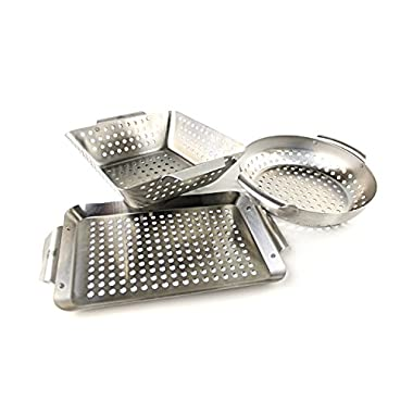 Yukon Glory Professional Barbecue Grilling Basket Set of 3 – Heavy Duty Stainless Steel BBQ Baskets