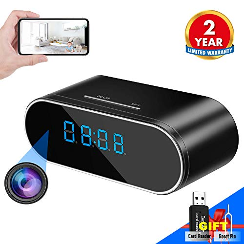 WEMLB WB-726 HD 1080P WiFi Hidden Camera Alarm Clock Night Vision/Motion Detection/Loop Recording Wireless Security Camera for Home Surveillance - Spy Cameras