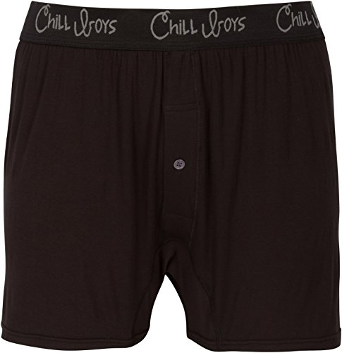 Chill Boys Bamboo Boxers - Soft, Cool, Comfortable Bamboo Underwear (XXL, Black)