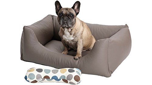 Dogs in the City hondenmand box bed Saddle kunstleer taupe grijs, M: 90x70x28cm, taupe grijs