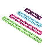 4 piezas de telares rectangulares para tejer, plástico colorido, herramienta para tejer, accesorios de costura, kit de ganchillo con gancho de ganchillo y aguja para calcetines, bufandas, suéter, chal